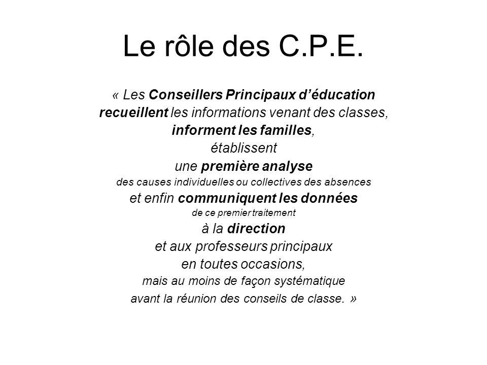 Le rôle des C.P.E.