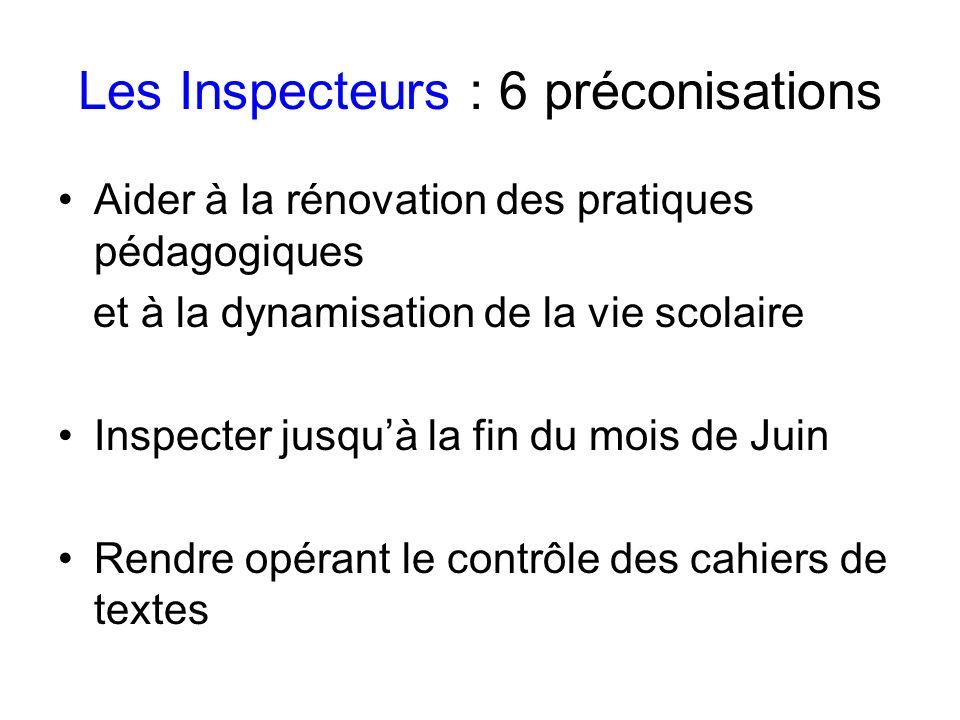 Les Inspecteurs : 6 préconisations Aider à la rénovation des pratiques pédagogiques et à la dynamisation de la vie scolaire Inspecter jusquà la fin du mois de Juin Rendre opérant le contrôle des cahiers de textes