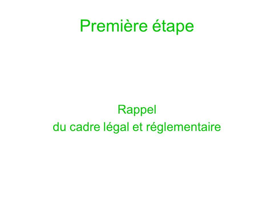 Première étape Rappel du cadre légal et réglementaire