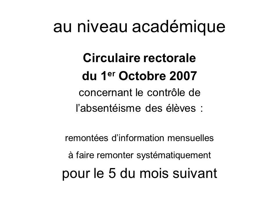 au niveau académique Circulaire rectorale du 1 er Octobre 2007 concernant le contrôle de labsentéisme des élèves : remontées dinformation mensuelles à faire remonter systématiquement pour le 5 du mois suivant