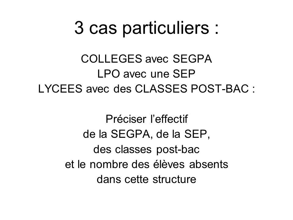3 cas particuliers : COLLEGES avec SEGPA LPO avec une SEP LYCEES avec des CLASSES POST-BAC : Préciser leffectif de la SEGPA, de la SEP, des classes post-bac et le nombre des élèves absents dans cette structure