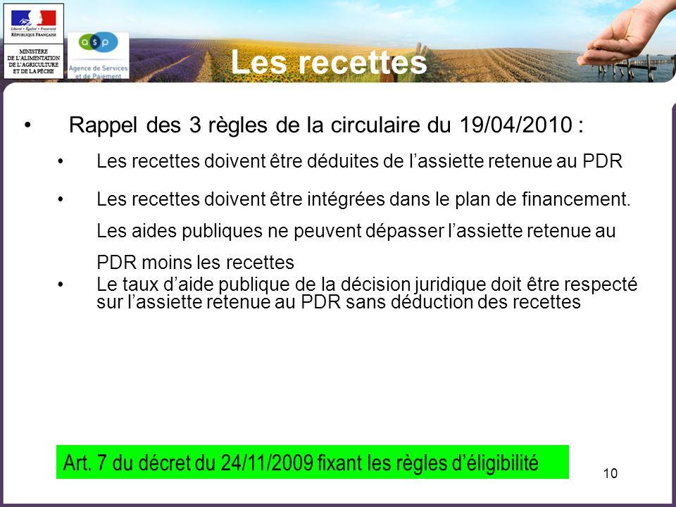 10 Les recettes Rappel des 3 règles de la circulaire du 19/04/2010 : Les recettes doivent être déduites de lassiette retenue au PDR Les recettes doive