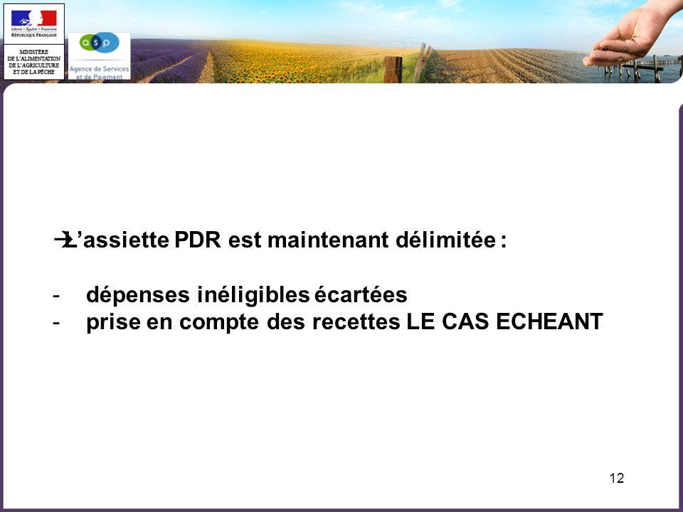 12 Lassiette PDR est maintenant délimitée : - dépenses inéligibles écartées - prise en compte des recettes LE CAS ECHEANT