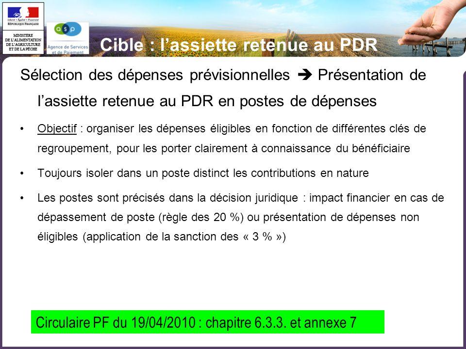 Cible : lassiette retenue au PDR Sélection des dépenses prévisionnelles Présentation de lassiette retenue au PDR en postes de dépenses Objectif : orga