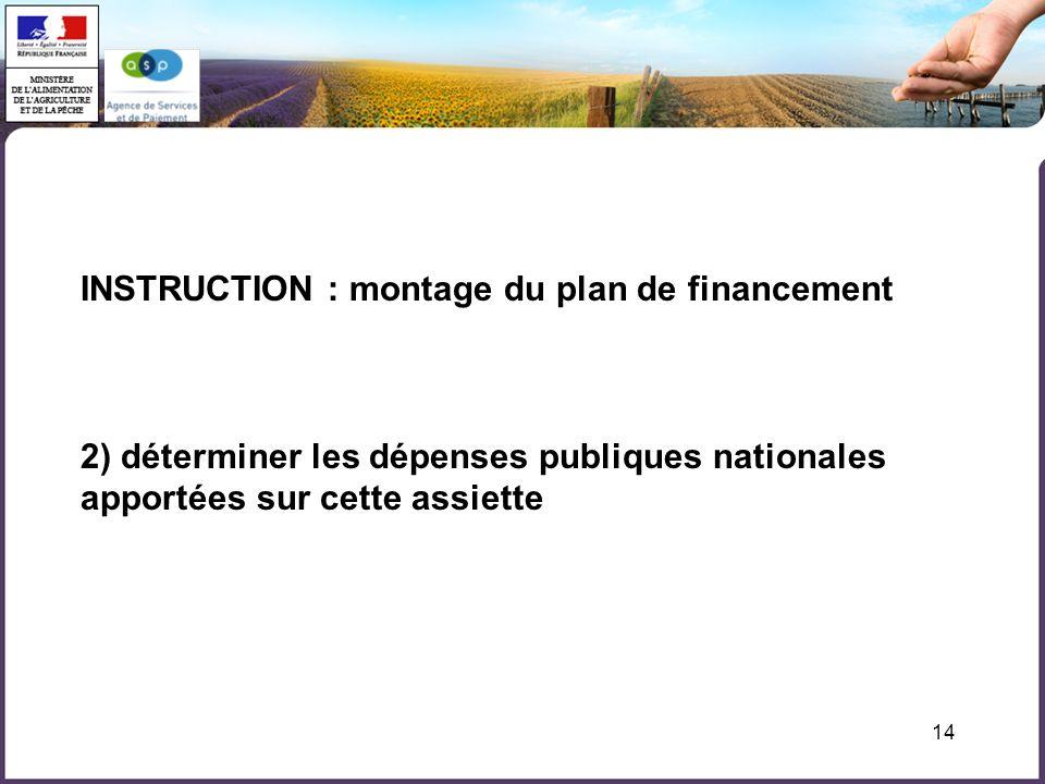 14 INSTRUCTION : montage du plan de financement 2) déterminer les dépenses publiques nationales apportées sur cette assiette