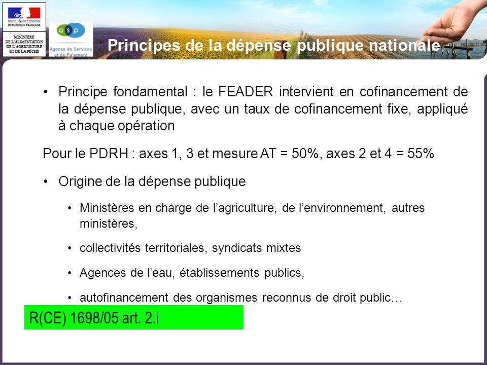 Principes de la dépense publique nationale Principe fondamental : le FEADER intervient en cofinancement de la dépense publique, avec un taux de cofina