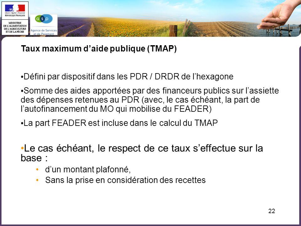 22 Taux maximum daide publique (TMAP) Défini par dispositif dans les PDR / DRDR de lhexagone Somme des aides apportées par des financeurs publics sur