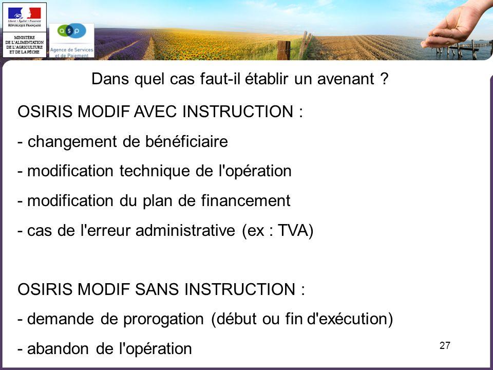 27 Dans quel cas faut-il établir un avenant ? OSIRIS MODIF AVEC INSTRUCTION : - changement de bénéficiaire - modification technique de l'opération - m
