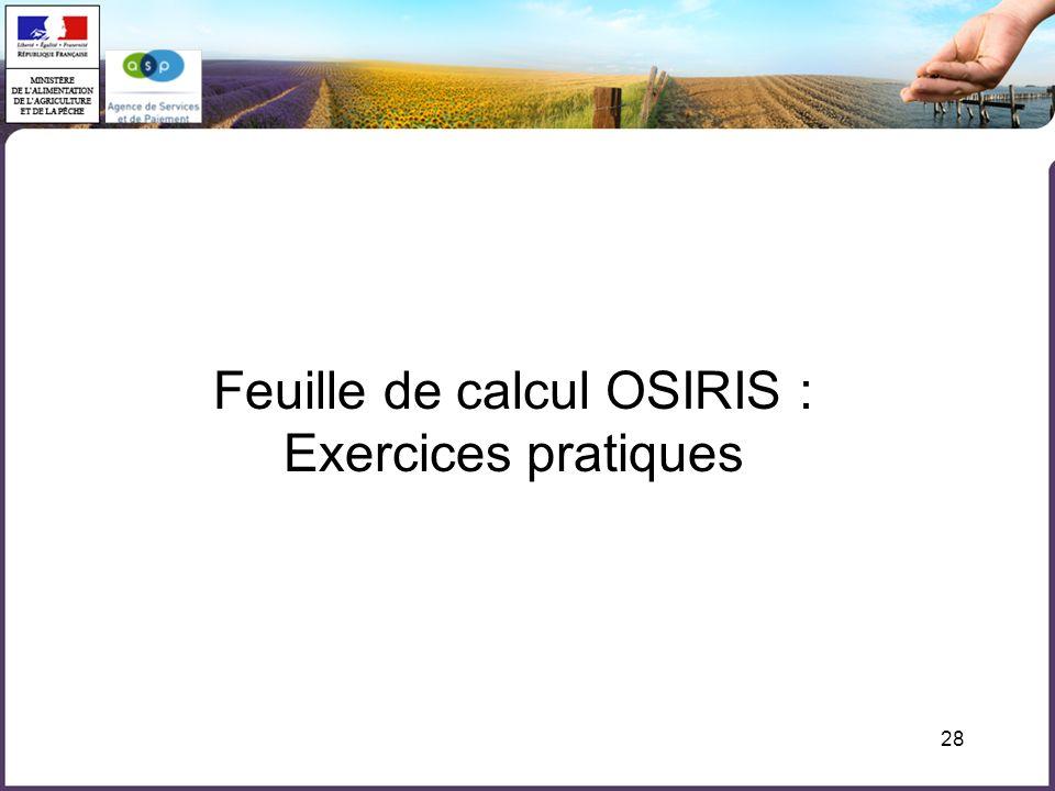 28 Feuille de calcul OSIRIS : Exercices pratiques
