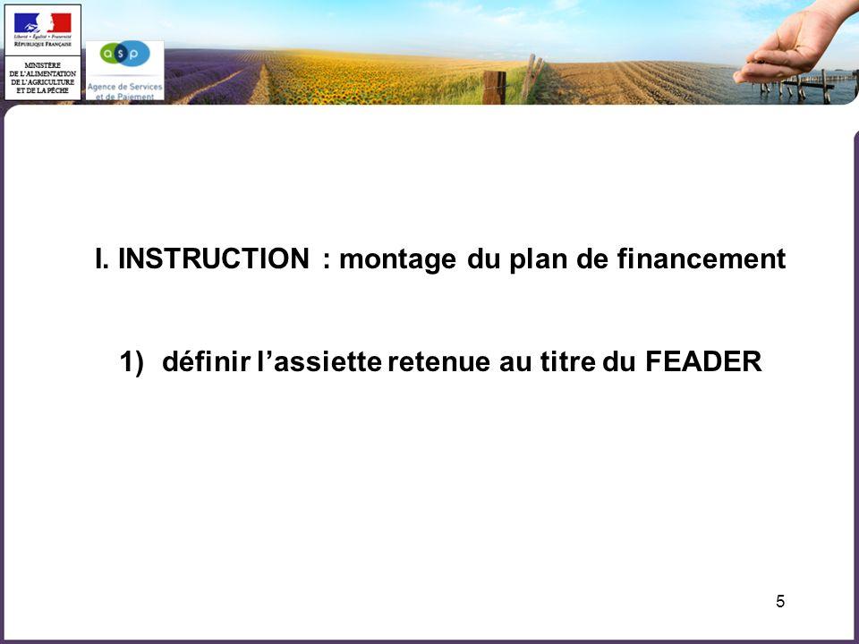 5 I. INSTRUCTION : montage du plan de financement 1)définir lassiette retenue au titre du FEADER