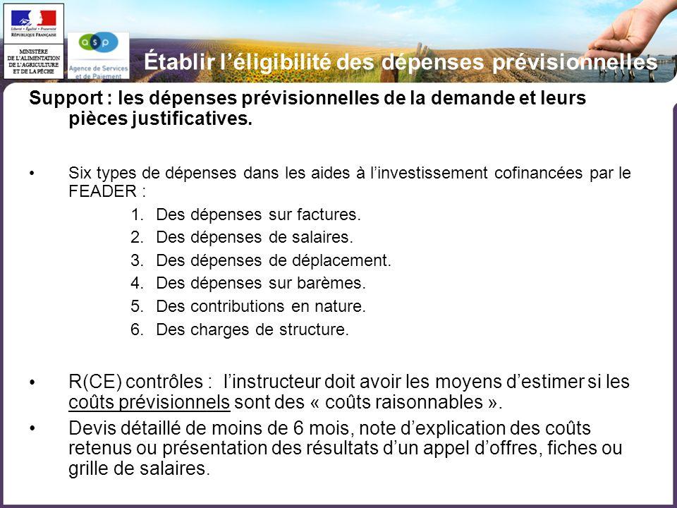 Établir léligibilité des dépenses prévisionnelles Support : les dépenses prévisionnelles de la demande et leurs pièces justificatives. Six types de dé
