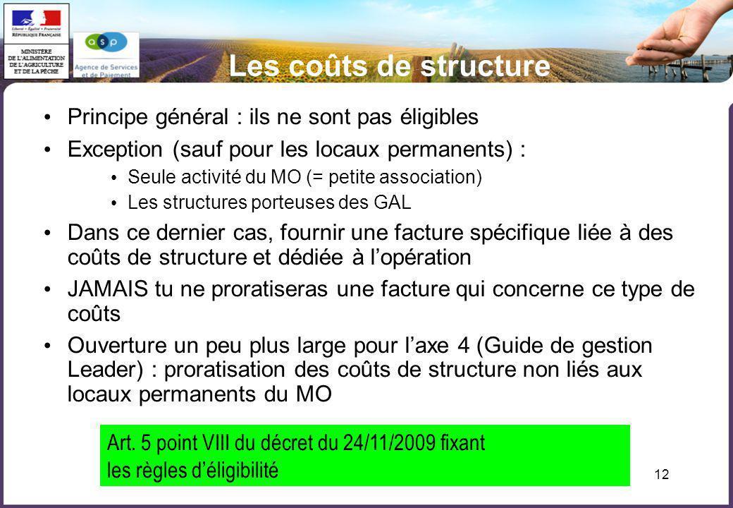 12 Les coûts de structure Principe général : ils ne sont pas éligibles Exception (sauf pour les locaux permanents) : Seule activité du MO (= petite as