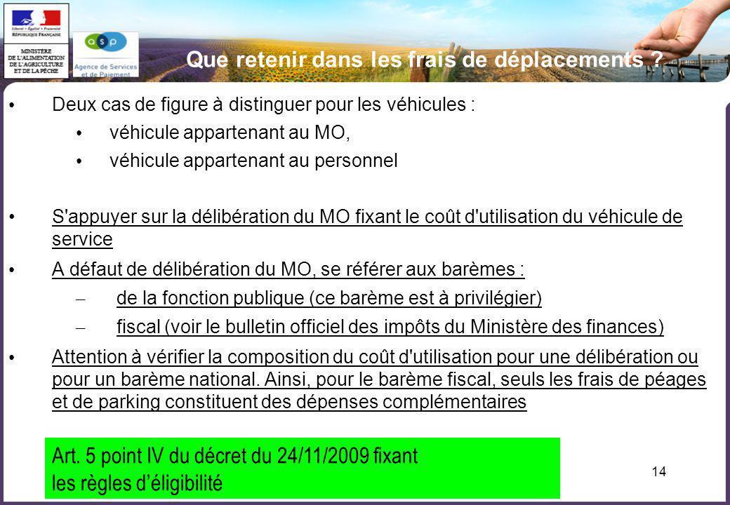 14 Que retenir dans les frais de déplacements ? Deux cas de figure à distinguer pour les véhicules : véhicule appartenant au MO, véhicule appartenant
