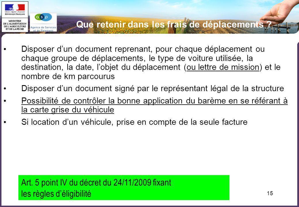 15 Que retenir dans les frais de déplacements ? Disposer dun document reprenant, pour chaque déplacement ou chaque groupe de déplacements, le type de