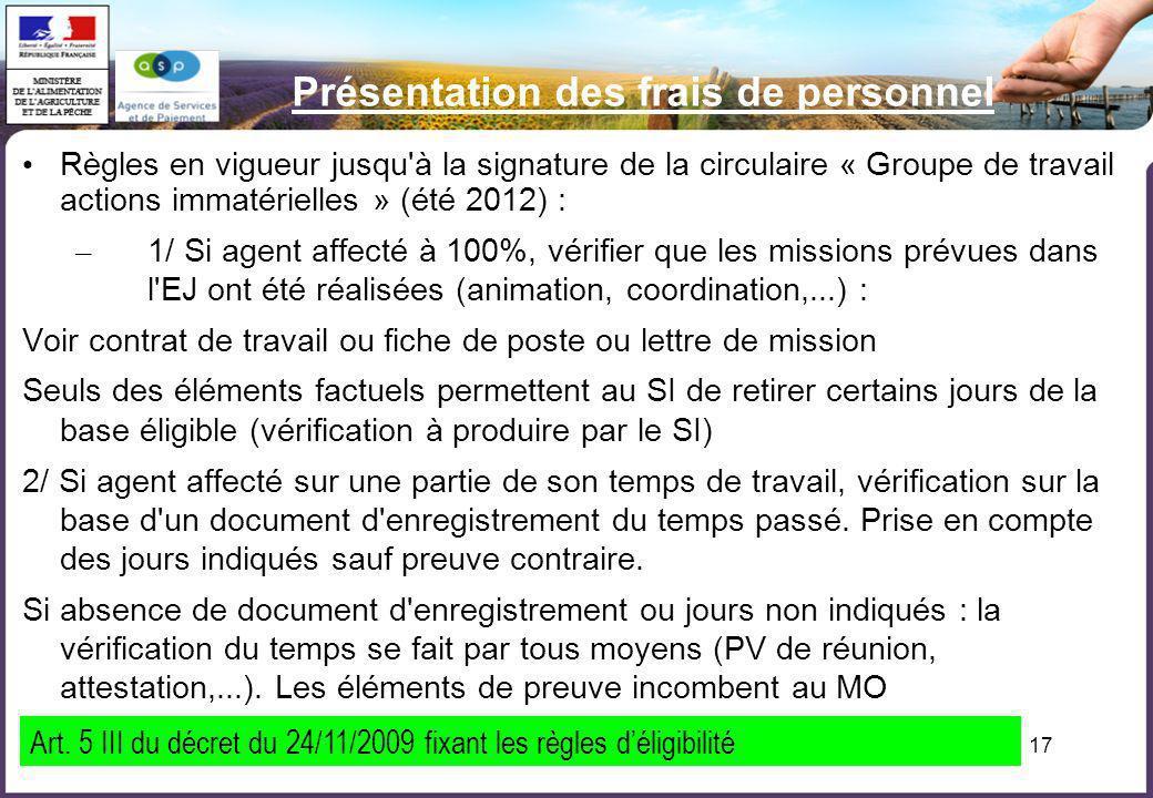 17 Présentation des frais de personnel Règles en vigueur jusqu'à la signature de la circulaire « Groupe de travail actions immatérielles » (été 2012)
