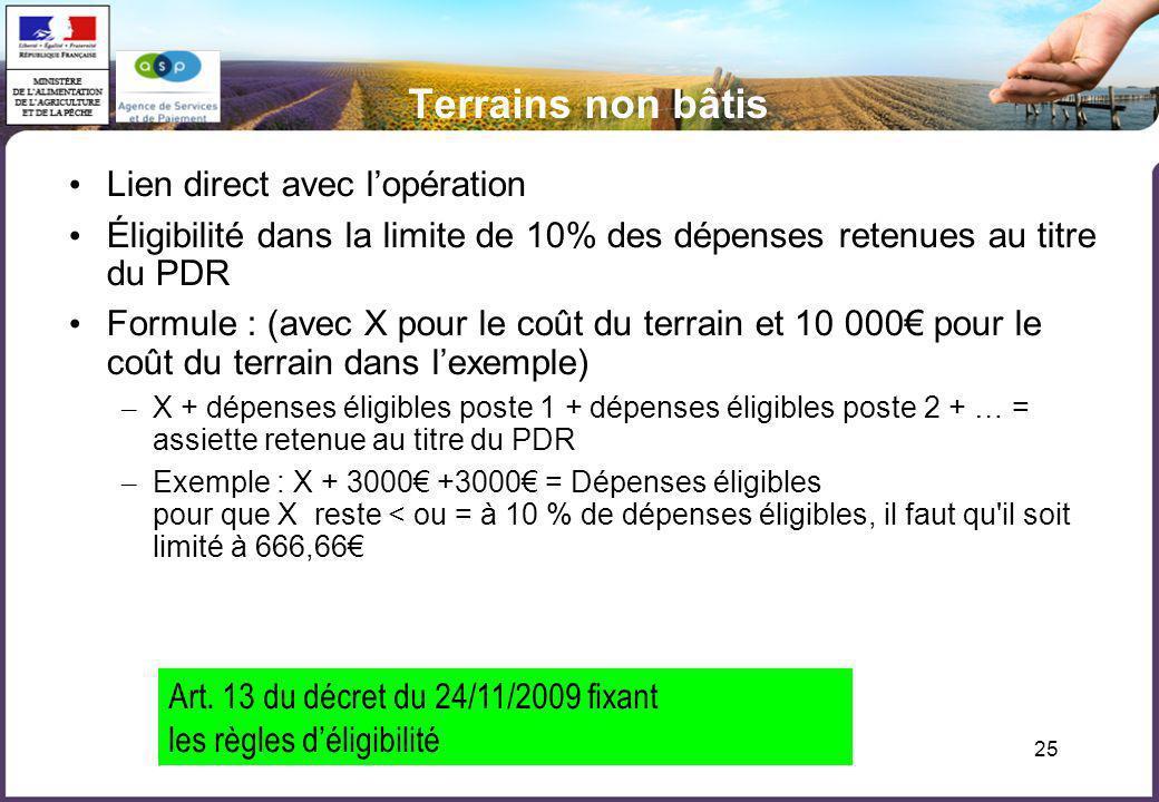25 Terrains non bâtis Lien direct avec lopération Éligibilité dans la limite de 10% des dépenses retenues au titre du PDR Formule : (avec X pour le co