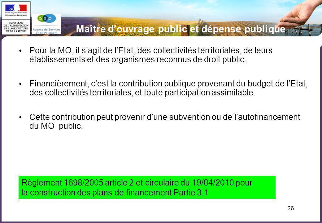 26 Maître douvrage public et dépense publique Pour la MO, il sagit de lEtat, des collectivités territoriales, de leurs établissements et des organisme