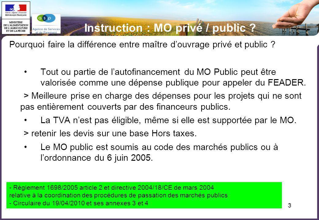 3 Instruction : MO privé / public ? Pourquoi faire la différence entre maître douvrage privé et public ? Tout ou partie de lautofinancement du MO Publ