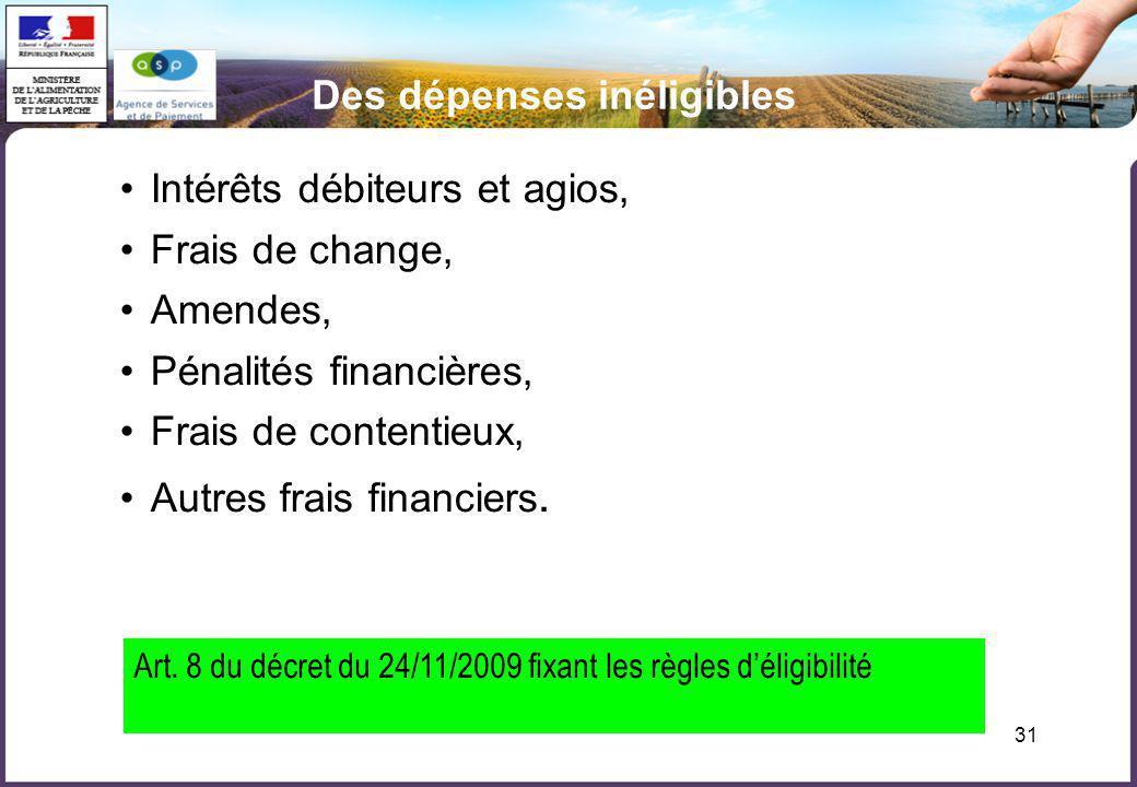 31 Des dépenses inéligibles Intérêts débiteurs et agios, Frais de change, Amendes, Pénalités financières, Frais de contentieux, Autres frais financier