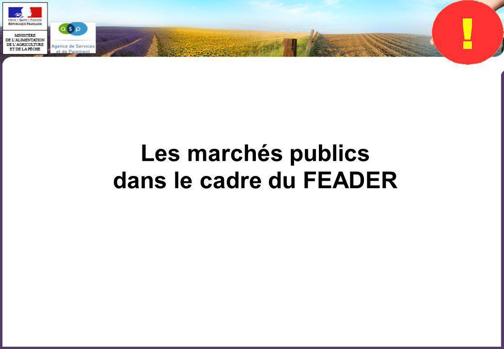 Les marchés publics dans le cadre du FEADER