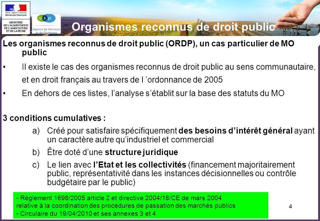 4 Les organismes reconnus de droit public (ORDP), un cas particulier de MO public Il existe le cas des organismes reconnus de droit public au sens com