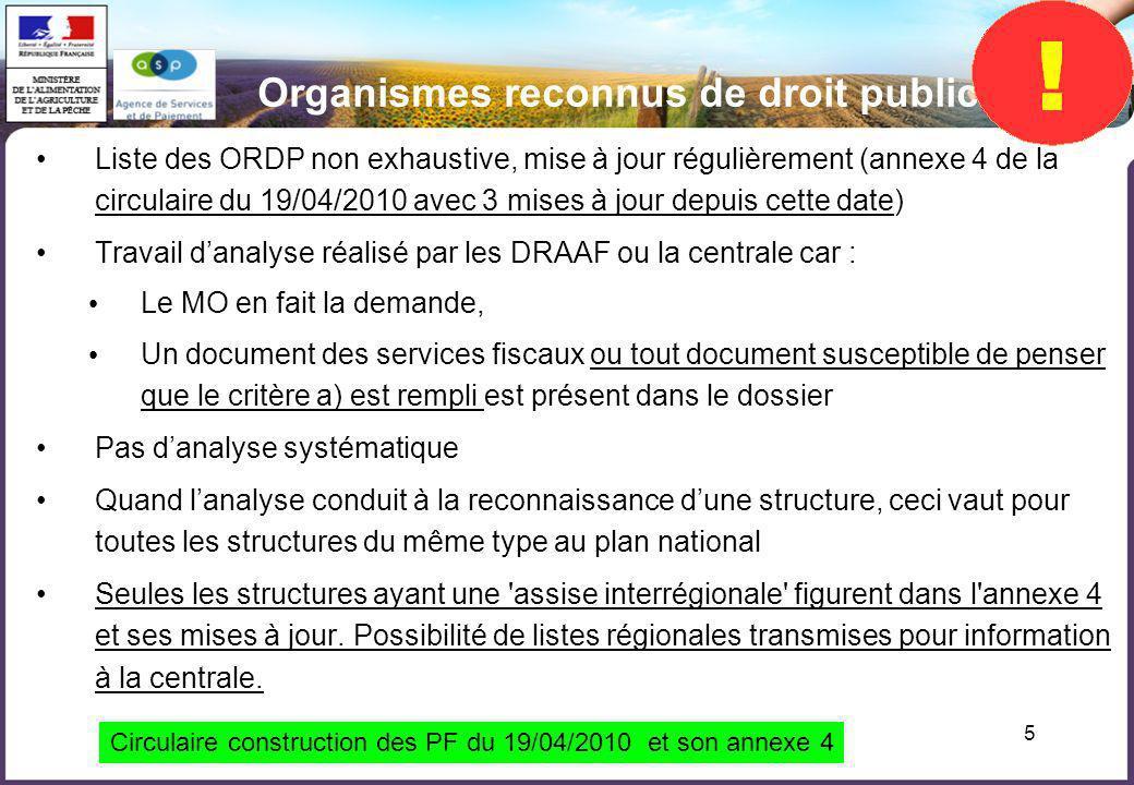 5 Liste des ORDP non exhaustive, mise à jour régulièrement (annexe 4 de la circulaire du 19/04/2010 avec 3 mises à jour depuis cette date) Travail dan