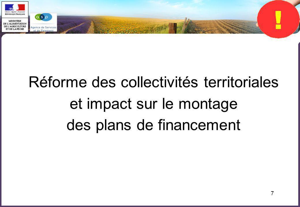 7 Réforme des collectivités territoriales et impact sur le montage des plans de financement