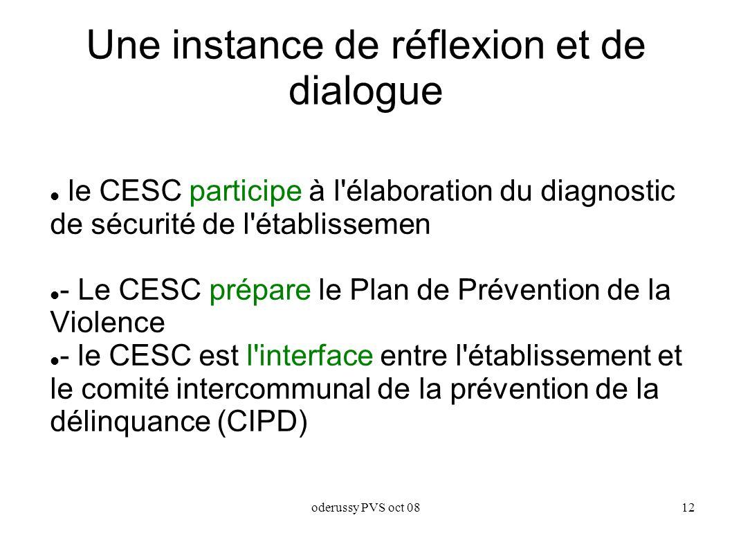 oderussy PVS oct 0812 Une instance de réflexion et de dialogue le CESC participe à l élaboration du diagnostic de sécurité de l établissemen - Le CESC prépare le Plan de Prévention de la Violence - le CESC est l interface entre l établissement et le comité intercommunal de la prévention de la délinquance (CIPD)