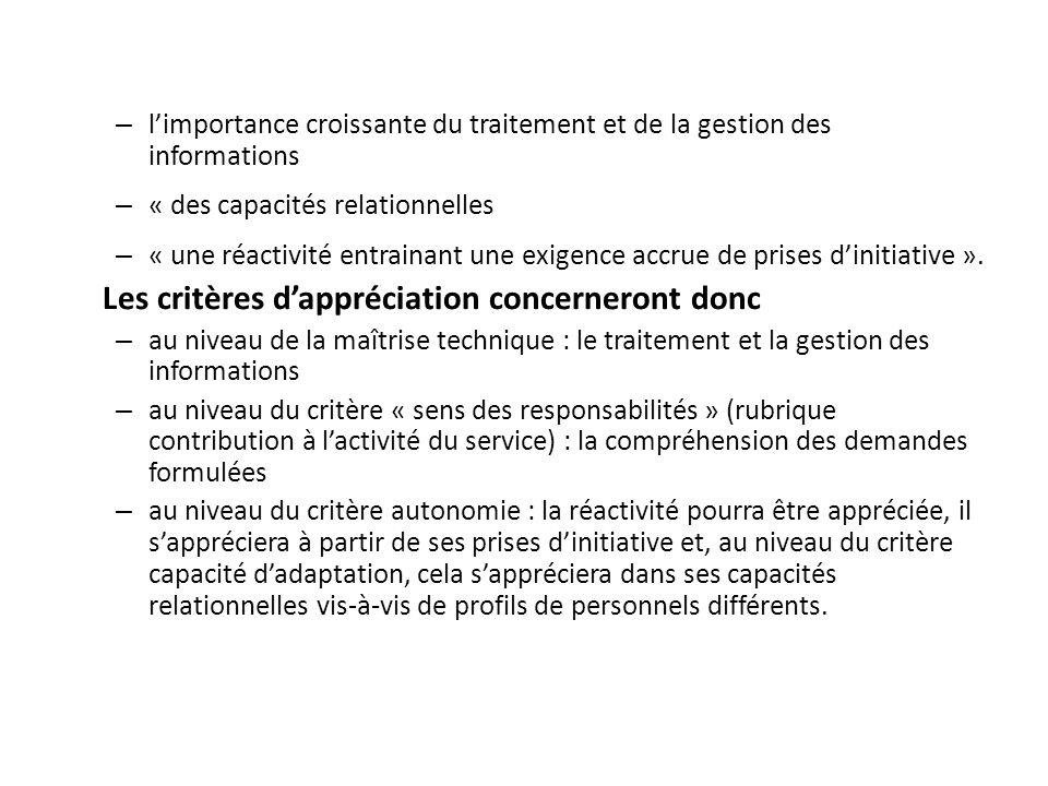 – limportance croissante du traitement et de la gestion des informations – « des capacités relationnelles – « une réactivité entrainant une exigence a