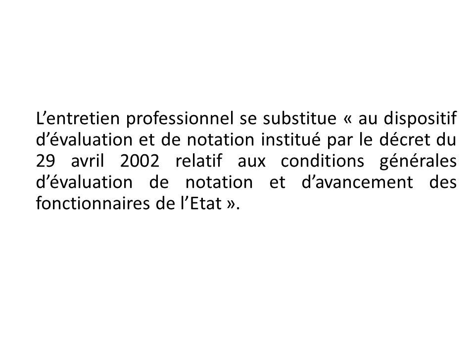 Lentretien professionnel se substitue « au dispositif dévaluation et de notation institué par le décret du 29 avril 2002 relatif aux conditions généra