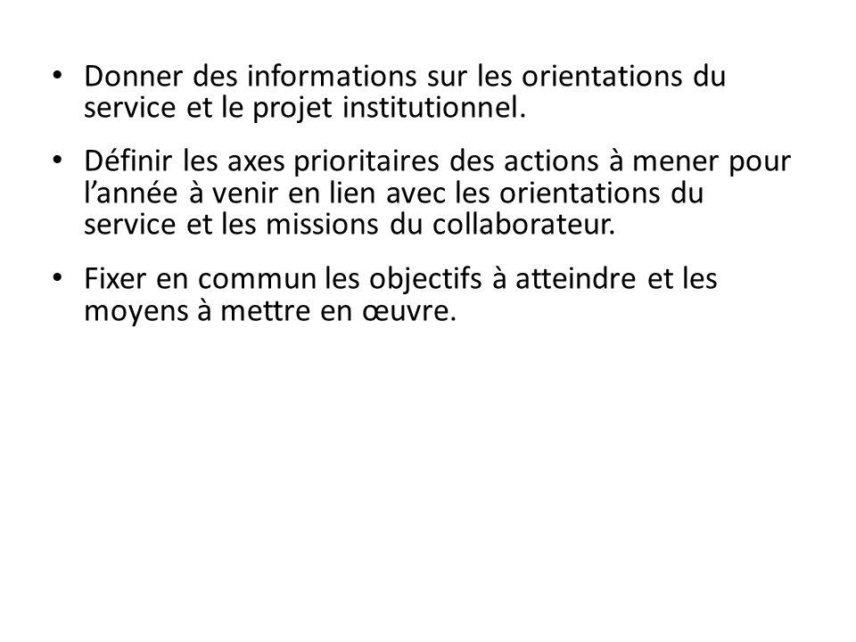 Donner des informations sur les orientations du service et le projet institutionnel. Définir les axes prioritaires des actions à mener pour lannée à v