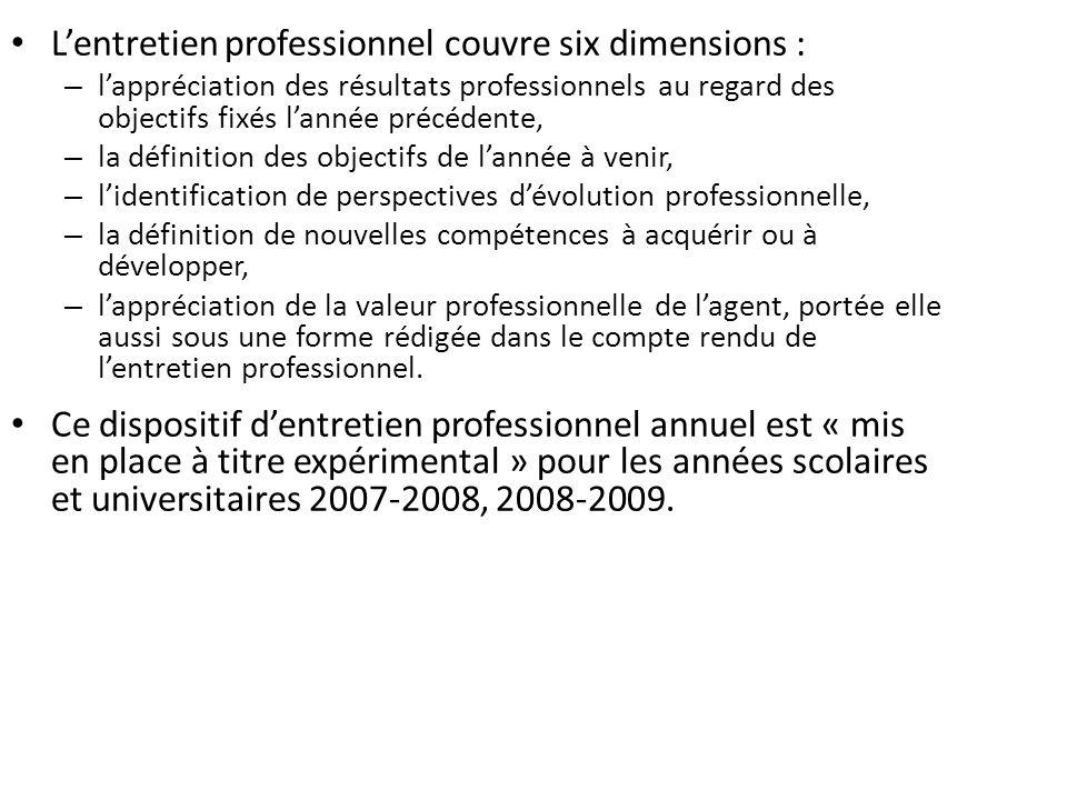 Lentretien professionnel couvre six dimensions : – lappréciation des résultats professionnels au regard des objectifs fixés lannée précédente, – la dé