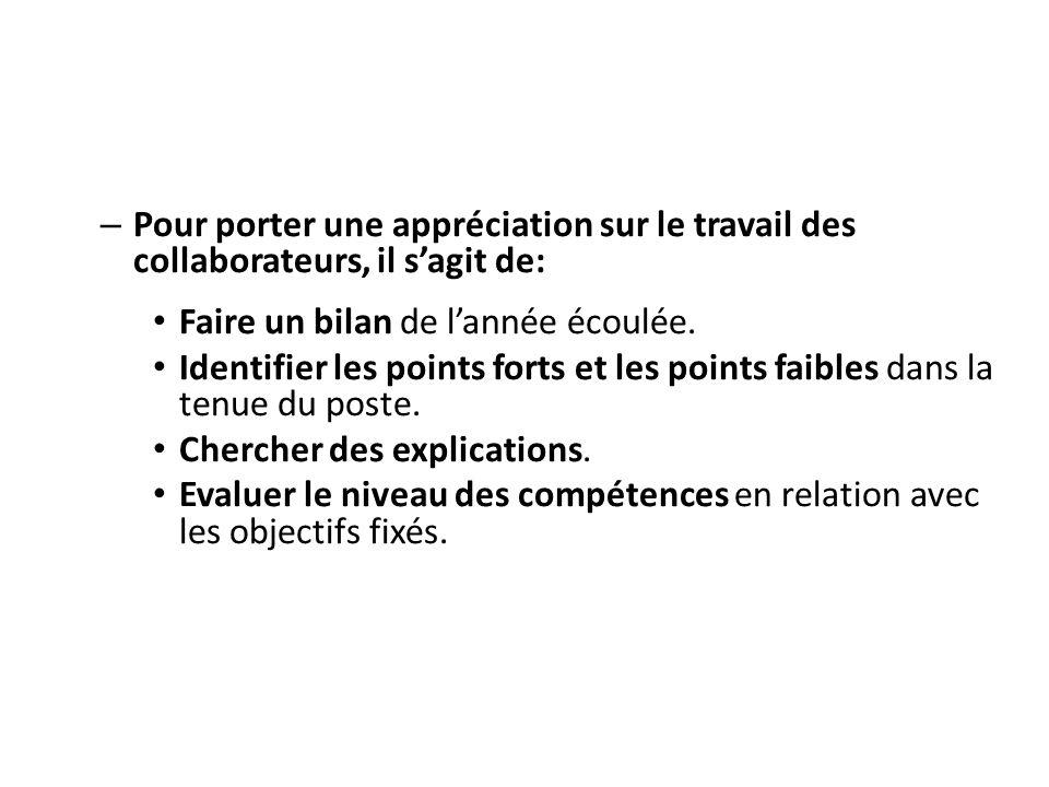 – Pour porter une appréciation sur le travail des collaborateurs, il sagit de: Faire un bilan de lannée écoulée. Identifier les points forts et les po