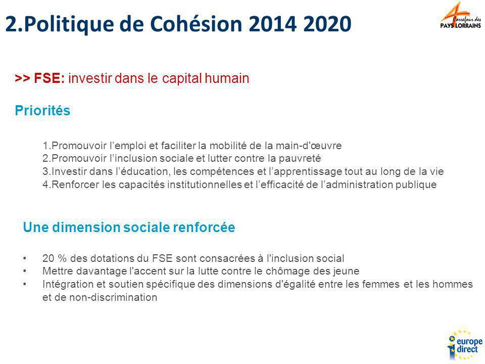 1.Promouvoir lemploi et faciliter la mobilité de la main-d'œuvre 2.Promouvoir linclusion sociale et lutter contre la pauvreté 3.Investir dans léducati