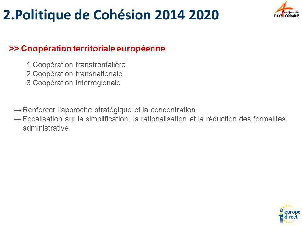 1.Coopération transfrontalière 2.Coopération transnationale 3.Coopération interrégionale >> Coopération territoriale européenne Renforcer lapproche st