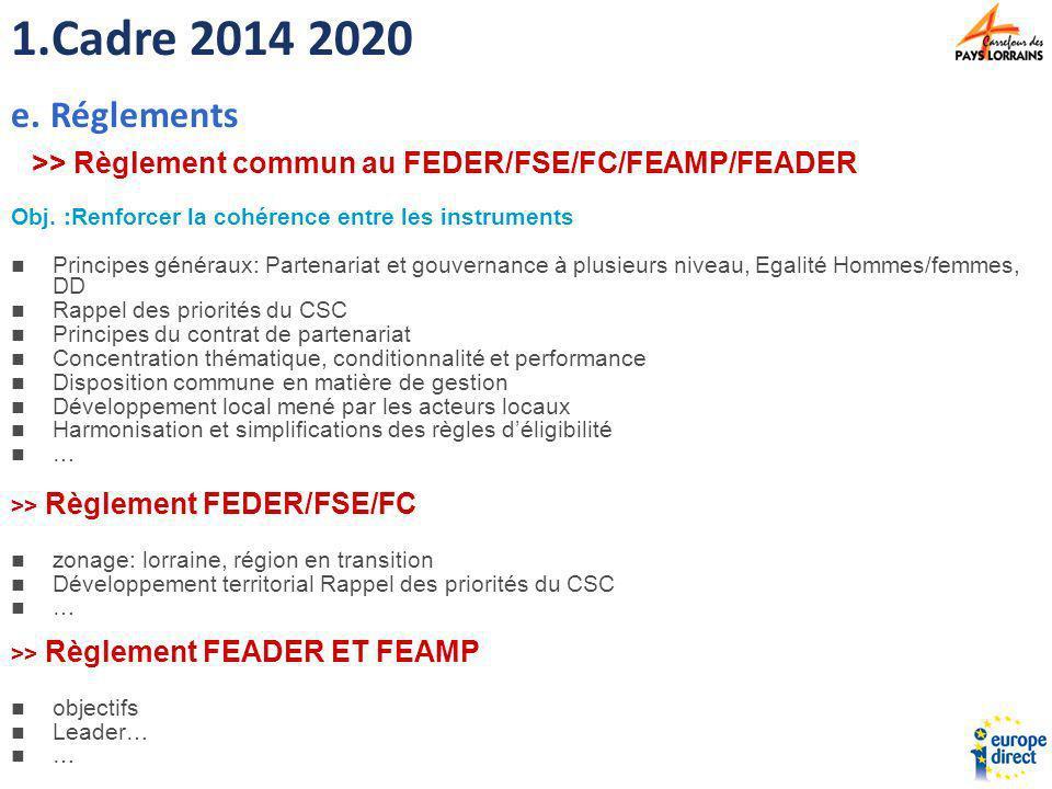 >> Règlement commun au FEDER/FSE/FC/FEAMP/FEADER Obj. :Renforcer la cohérence entre les instruments Principes généraux: Partenariat et gouvernance à p