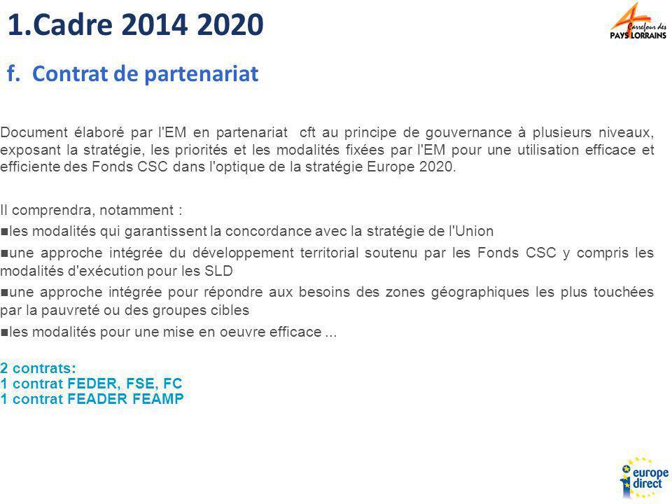 2.Politique de Cohésion 2014 2020 >> Objectifs Atteindre les objectifs de la stratégie Europe 2020, Mettre l accent sur les résultats Maximiser l impact de l aide européenne >> outils Fond européen de développement régional Fond social européen Fond de cohésion