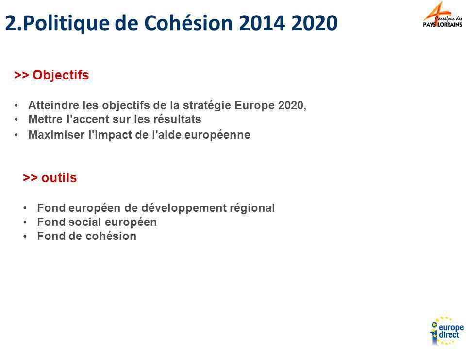 2.Politique de Cohésion 2014 2020 >> Objectifs Atteindre les objectifs de la stratégie Europe 2020, Mettre l'accent sur les résultats Maximiser l'impa