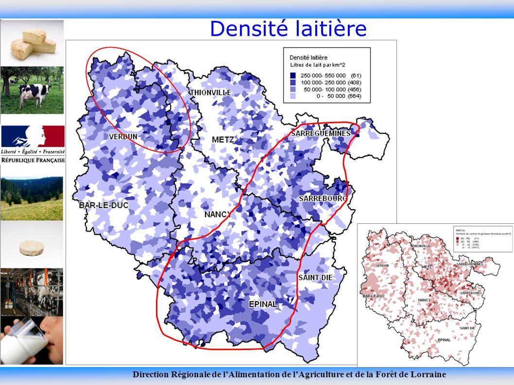 Direction Régionale de lAlimentation de lAgriculture et de la Forêt de Lorraine Densité laitière