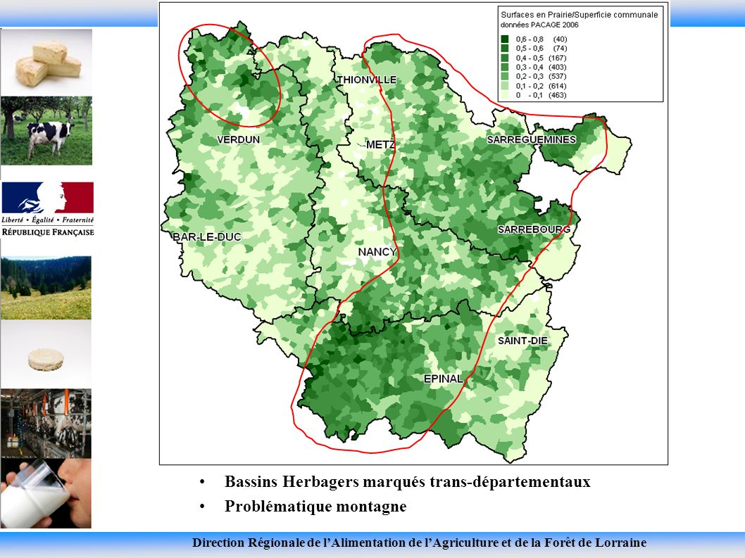 Direction Régionale de lAlimentation de lAgriculture et de la Forêt de Lorraine Bassins Herbagers marqués trans-départementaux Problématique montagne