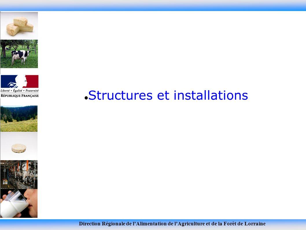 Direction Régionale de lAlimentation de lAgriculture et de la Forêt de Lorraine Structures et installations