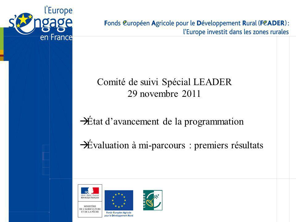 Comité de suivi Spécial LEADER 29 novembre 2011 État davancement de la programmation Évaluation à mi-parcours : premiers résultats