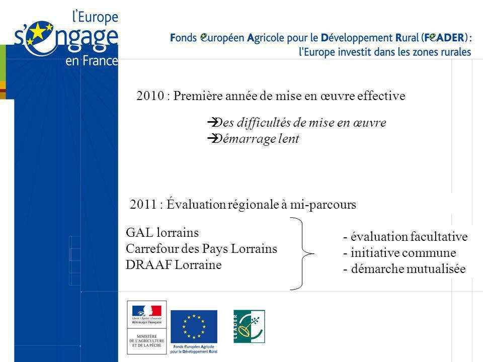 2010 : Première année de mise en œuvre effective Des difficultés de mise en œuvre Démarrage lent 2011 : Évaluation régionale à mi-parcours GAL lorrains Carrefour des Pays Lorrains DRAAF Lorraine - évaluation facultative - initiative commune - démarche mutualisée