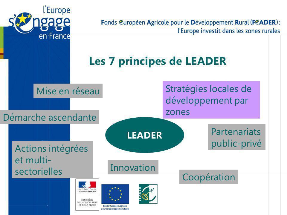 Les 7 principes de LEADER LEADER Stratégies locales de développement par zones Démarche ascendante Partenariats public-privé Innovation Actions intégrées et multi- sectorielles Mise en réseau Coopération