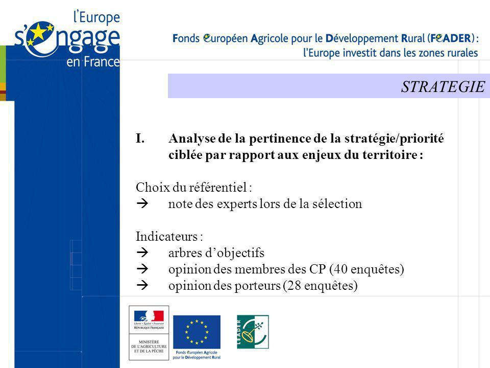 STRATEGIE I.Analyse de la pertinence de la stratégie/priorité ciblée par rapport aux enjeux du territoire : Choix du référentiel : note des experts lo