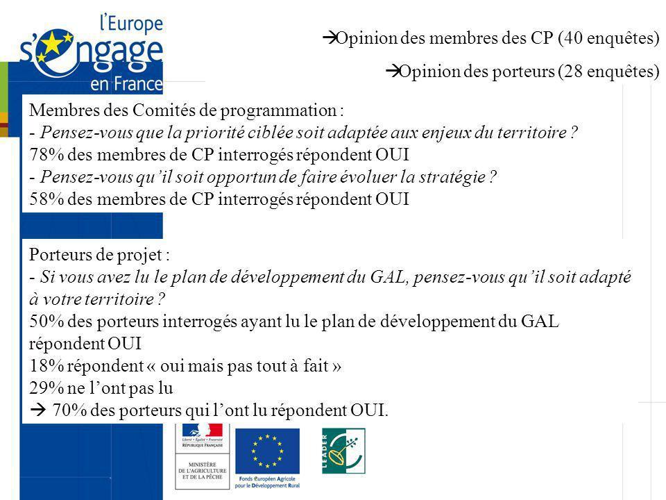 Opinion des membres des CP (40 enquêtes) Opinion des porteurs (28 enquêtes) Membres des Comités de programmation : - Pensez-vous que la priorité ciblé