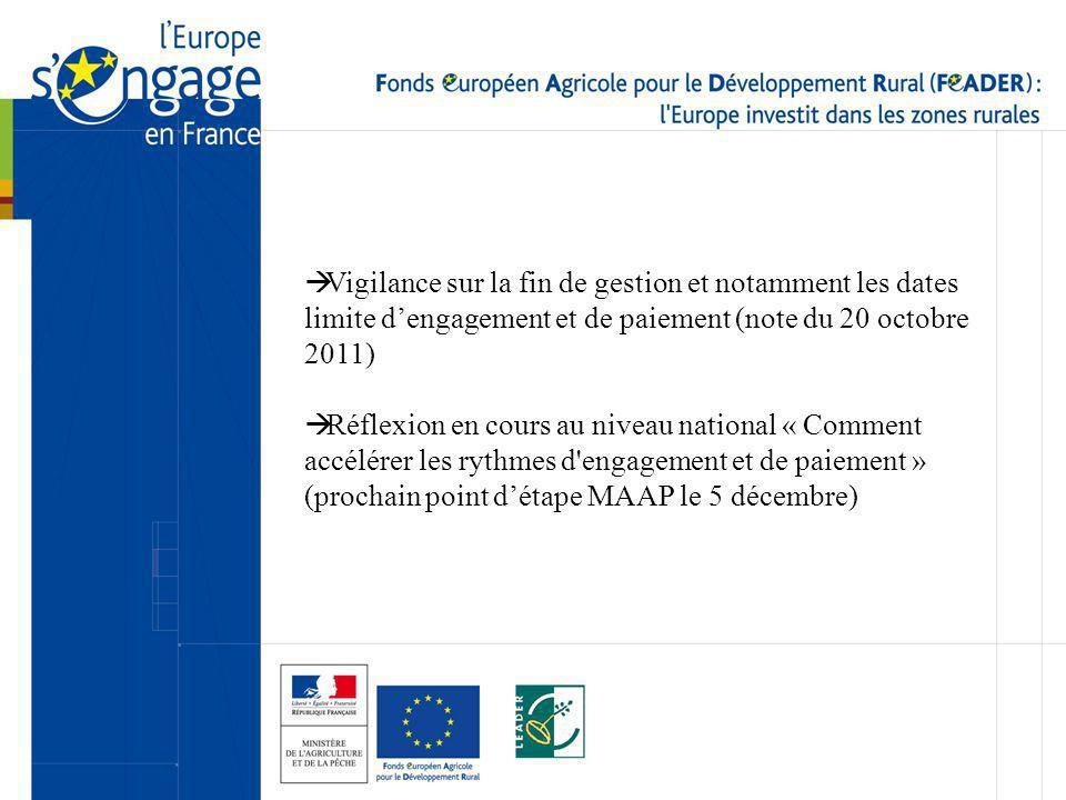 Vigilance sur la fin de gestion et notamment les dates limite dengagement et de paiement (note du 20 octobre 2011) Réflexion en cours au niveau nation