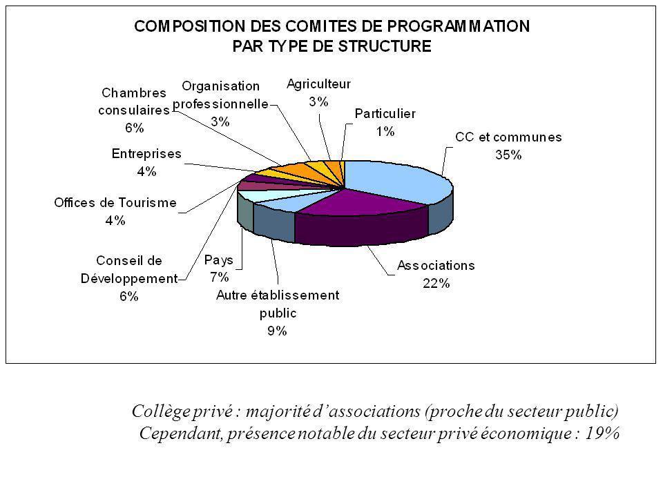 Collège privé : majorité dassociations (proche du secteur public) Cependant, présence notable du secteur privé économique : 19%