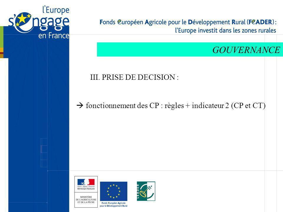 GOUVERNANCE III. PRISE DE DECISION : fonctionnement des CP : règles + indicateur 2 (CP et CT)