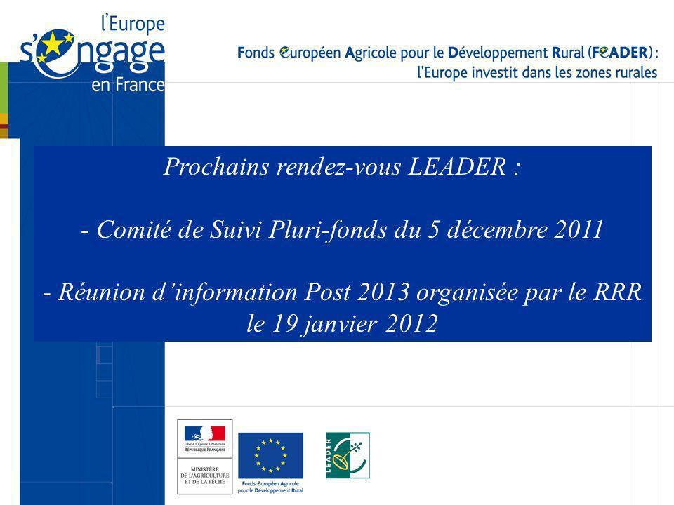 Prochains rendez-vous LEADER : - Comité de Suivi Pluri-fonds du 5 décembre 2011 - Réunion dinformation Post 2013 organisée par le RRR le 19 janvier 20